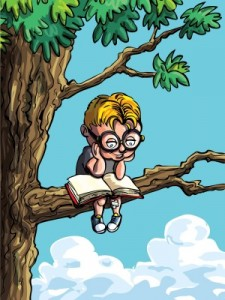 cartoon of a child reading in a tree