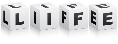 Letter Cubes that spell LIFE_Biography